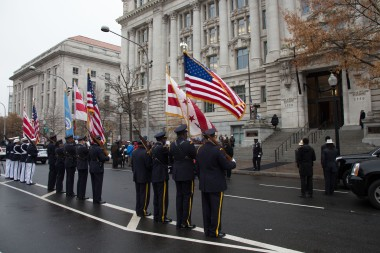 An honor guard waitng Marion Barry's final exit from the Wilson Building.